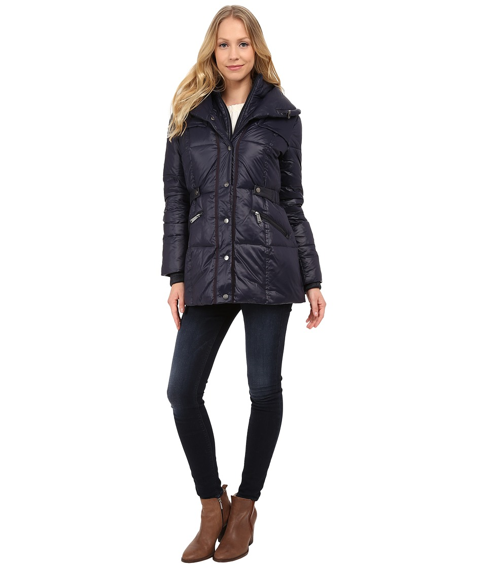 DKNY - Pillow Collar Short Down Coat (New Midnight) Women's Coat