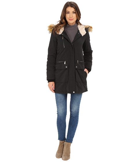 DKNY - Fur Hooded Anorak with Patched Pocket (Black) Women