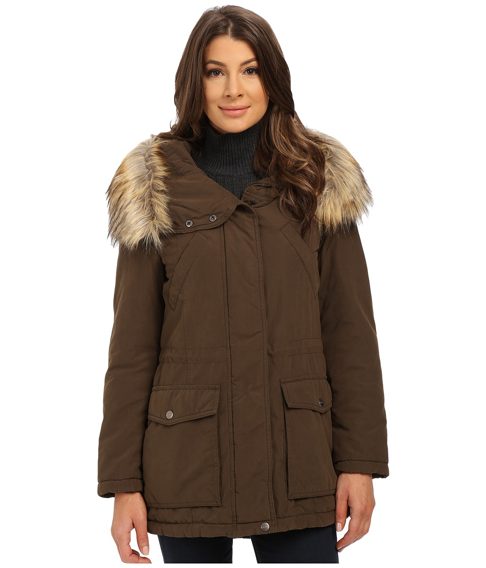 DKNY - Fur Hooded Anorak with Patched Pocket (Loden) Women
