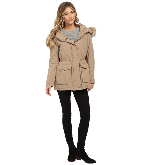 DKNY - Fur Hooded Anorak with Patched Pocket (Khaki) Women's Coat