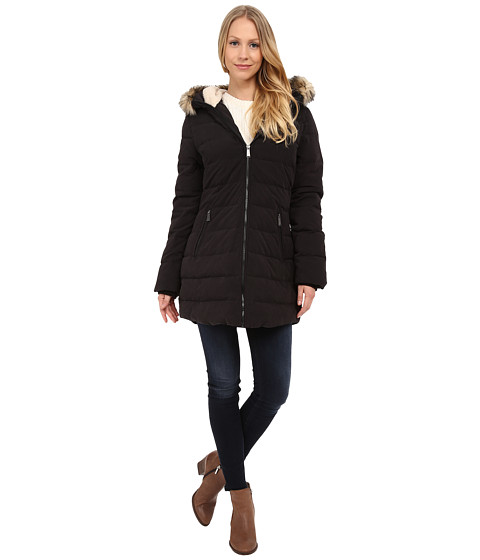 DKNY - Fur Hooded/Berber Lined Quilted (Black) Women's Coat