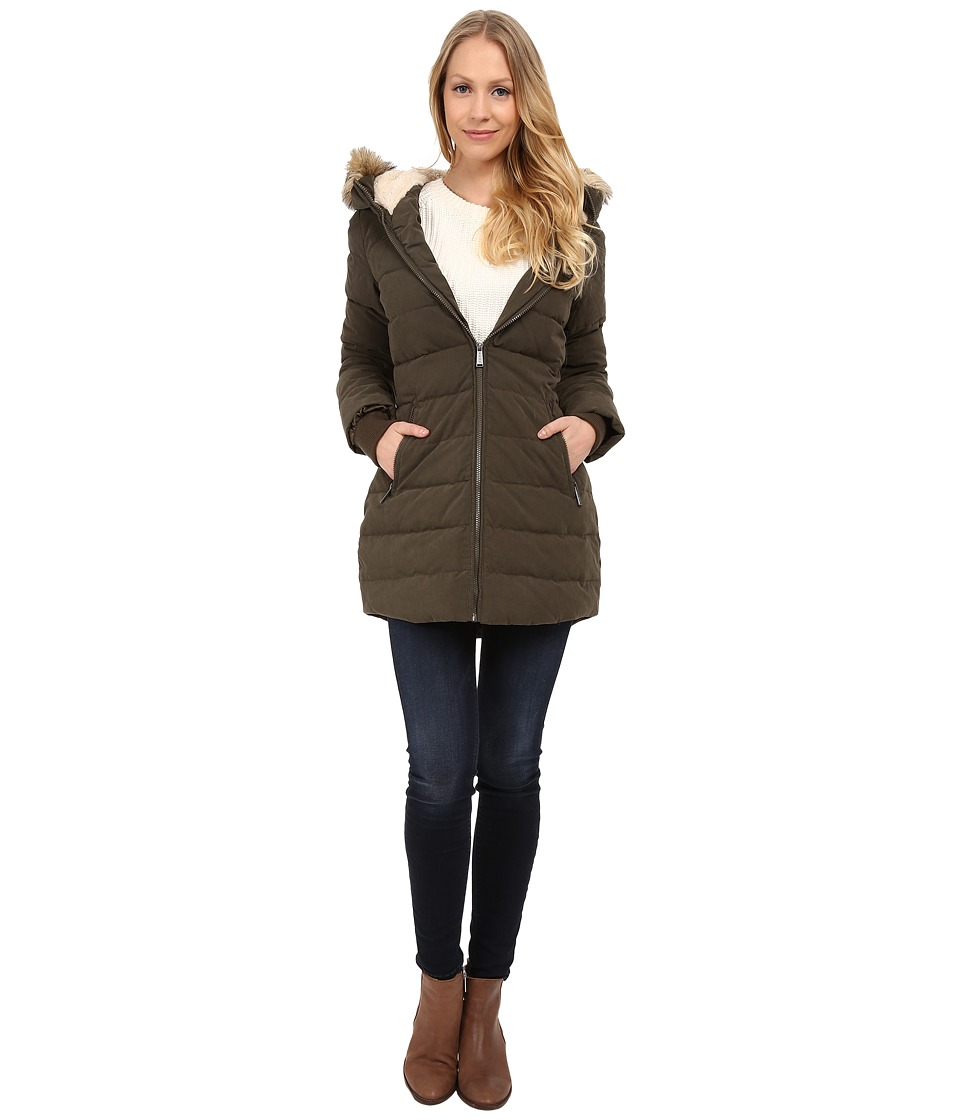 DKNY - Fur Hooded/Berber Lined Quilted (Loden) Women