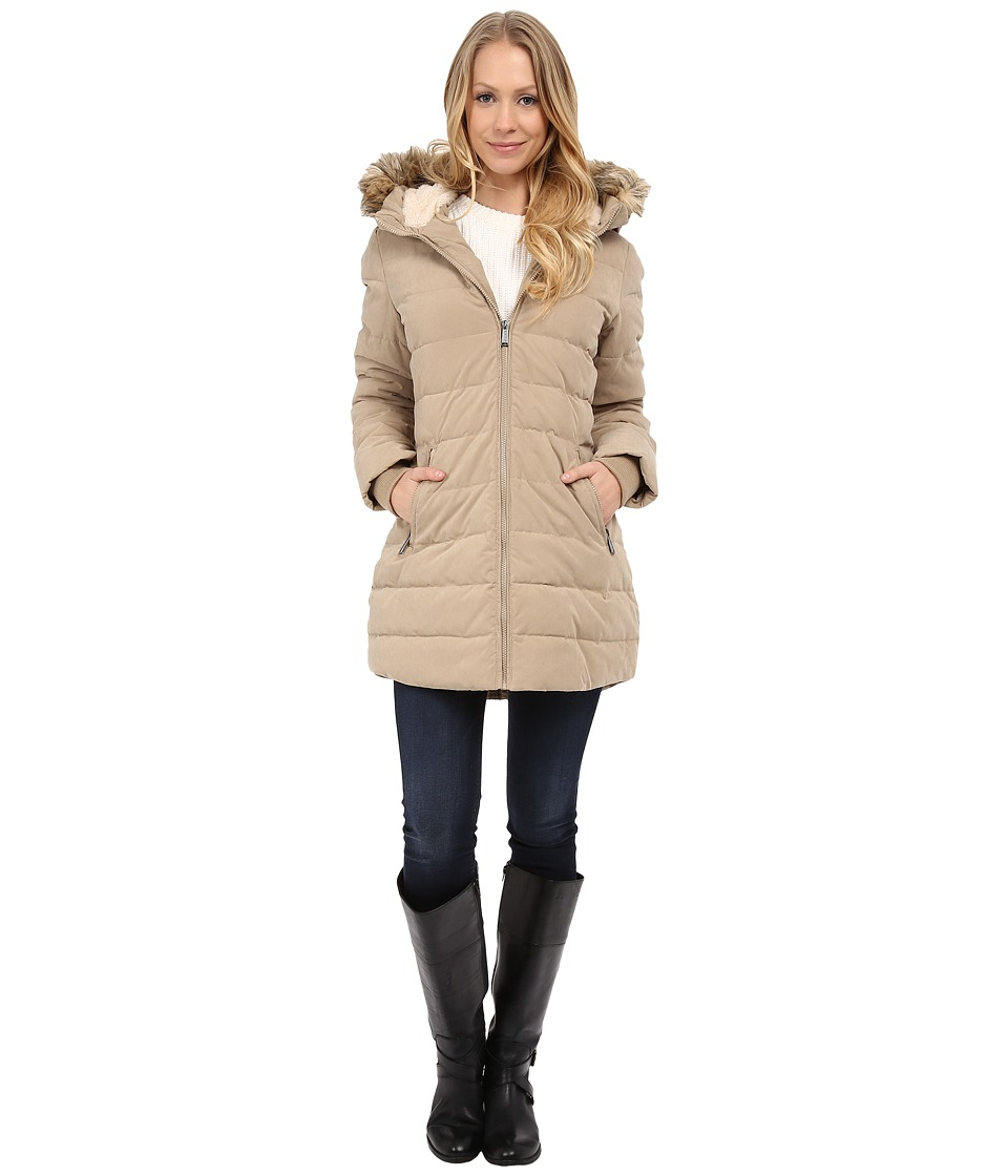 DKNY - Fur Hooded/Berber Lined Quilted (Khaki) Women's Coat