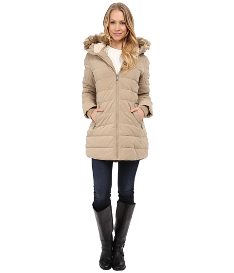 DKNY - Fur Hooded/Berber Lined Quilted (Khaki) Women