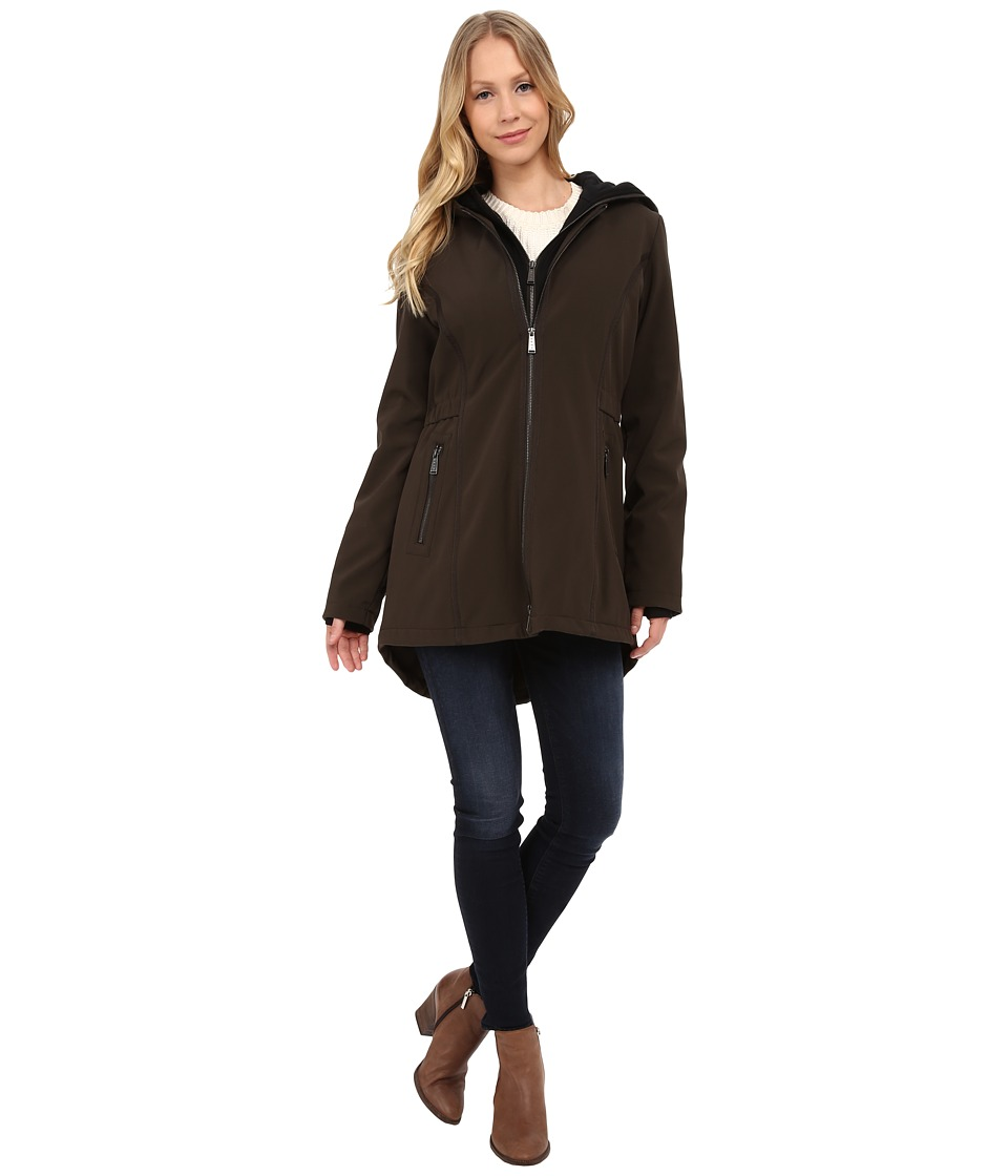 DKNY - Hooded Soft Shell with Jersey Knit (Loden) Women's Coat