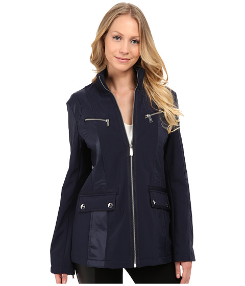 DKNY - Zip Front Scuba with Nylon Combo (Navy) Women's Coat