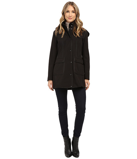 DKNY - Hooded Wakler with Patch Pockets (Black) Women's Coat