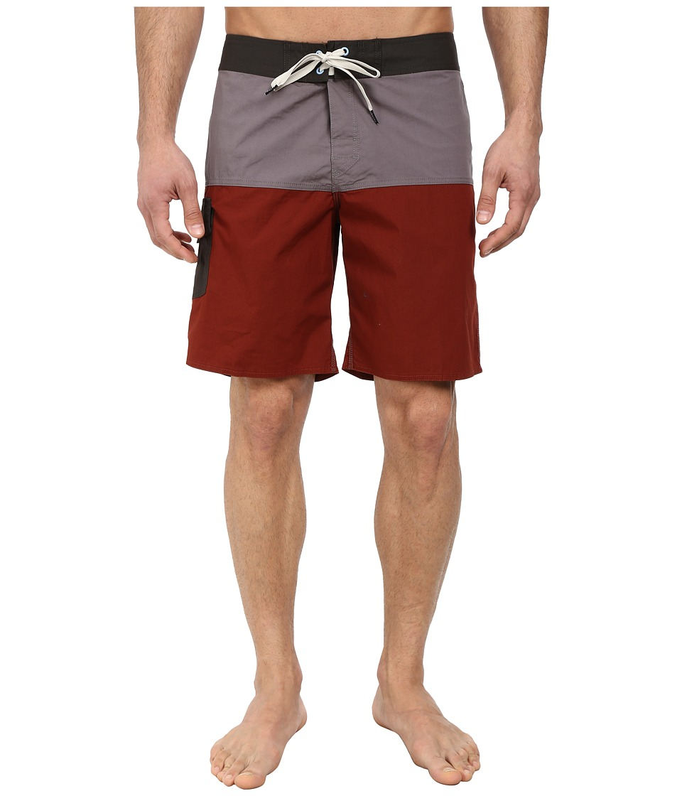 Brixton - Leeward Trunk (Charcoal/Burgundy) Men's Swimwear