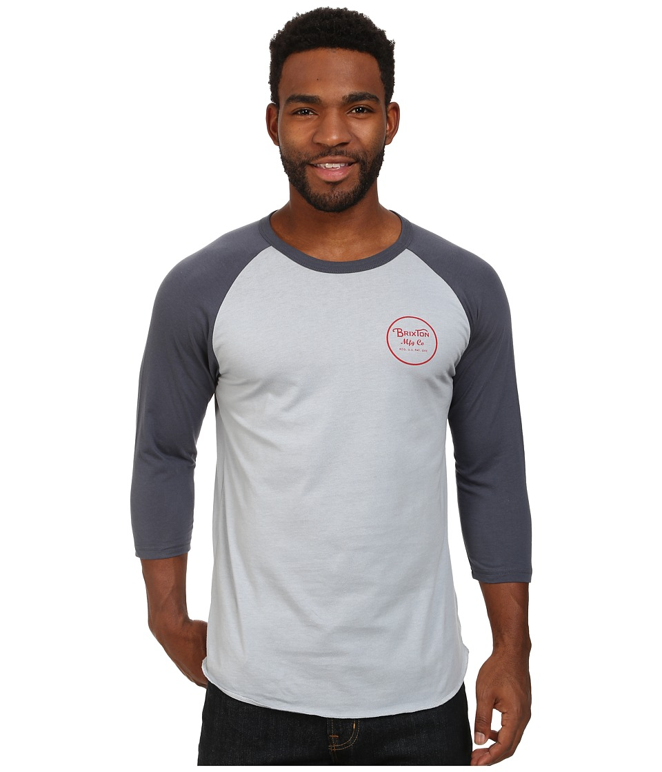 Brixton - Wheeler 3/4 Sleeve Tee (Washed Denim/Navy) Men's Long Sleeve Pullover