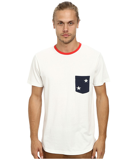 Alternative - Cotton Modal Pocket Crew (White Pocket Stars) Men's T Shirt
