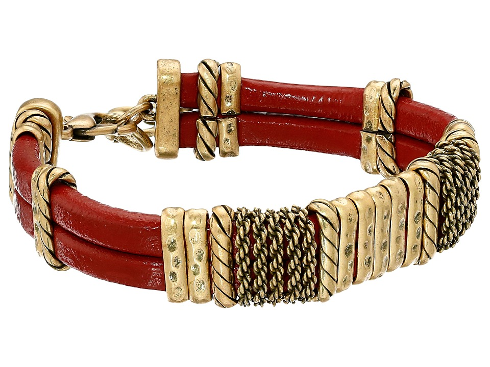 Lucky Brand - Red Leather Bracelet (Gold) Bracelet