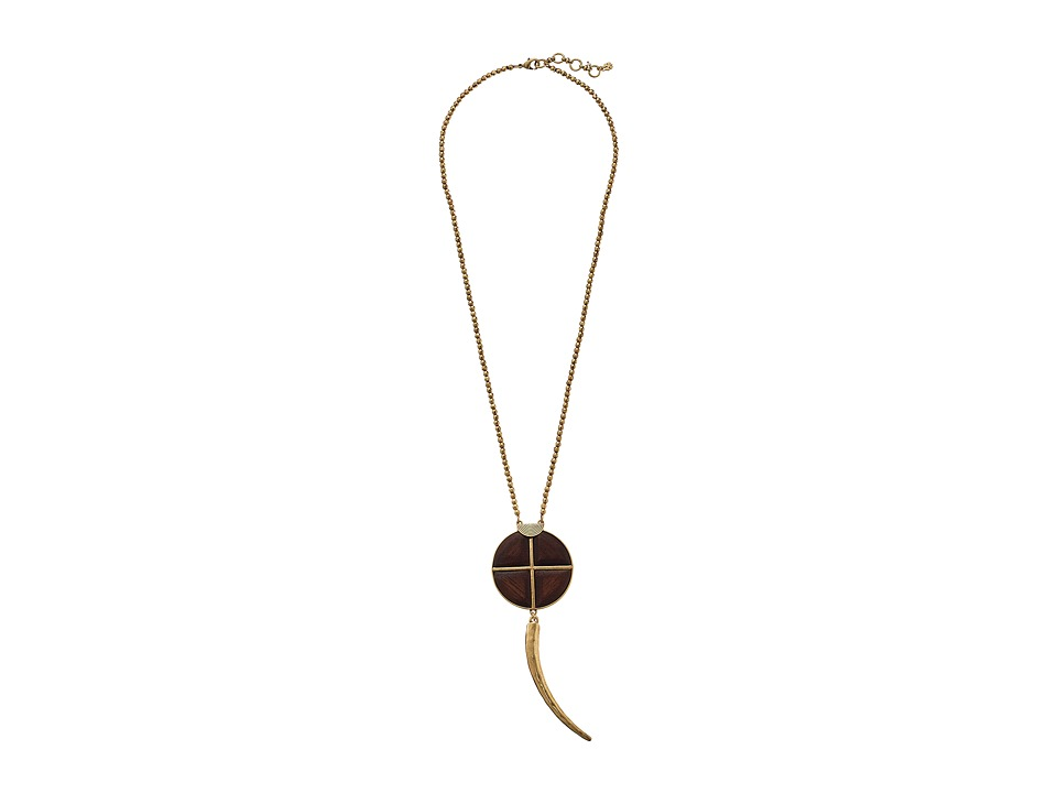 Lucky Brand - Wood and Tusk Pendant Necklace (Gold) Necklace