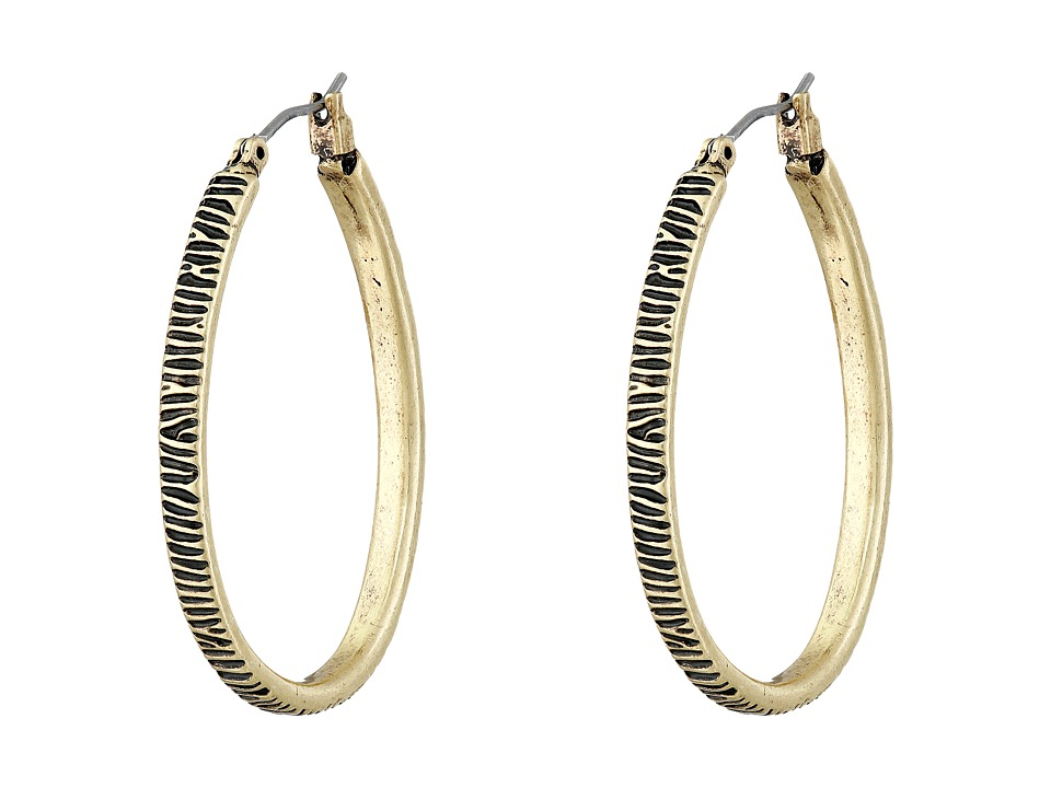 Lucky Brand - Etched Hoop Earrings (Gold) Earring