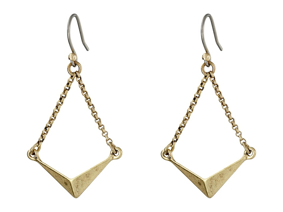 Lucky Brand - Triangle Drop Earrings (Gold) Earring