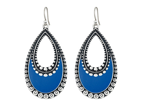 Lucky Brand - Navy Enamel Earrings (Silver) Earring