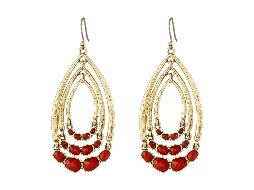 Lucky Brand - Gold and Red Multi Hoop Drop Earrings (Gold) Earring