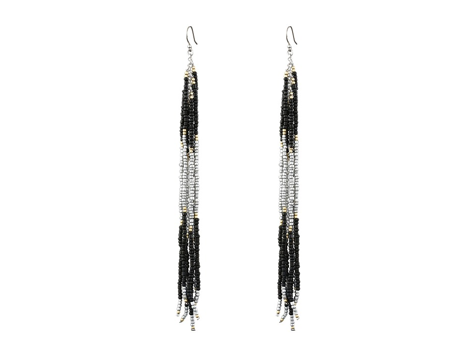 Lucky Brand - Black Linear Beaded Earrings (Two-Tone) Earring