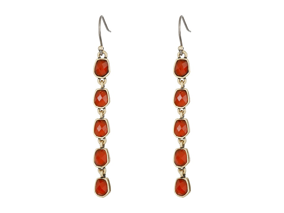 Lucky Brand - Gold and Red Linear Drop Earrings (Gold) Earring