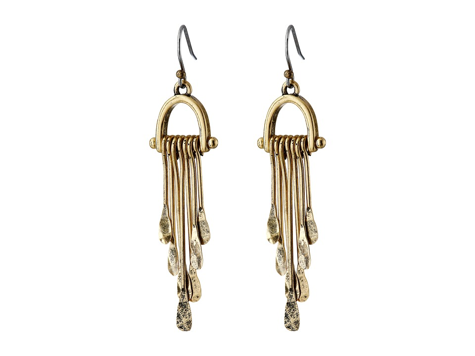 Lucky Brand - Gold Hammered Paddle Drop Earrings (Gold) Earring