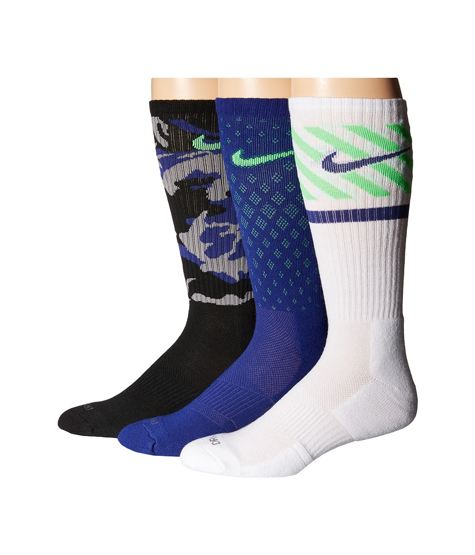 Nike - Dri-FIT Triple Fly Crew 3-Pack (Black/Green Strike/Deep Royal Blue/Green Strike/White) Crew Cut Socks Shoes