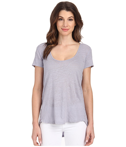 Velvet by Graham & Spencer - Oliana Short Sleeve Linen Scoop Top (Lunar) Women's Short Sleeve Pullover