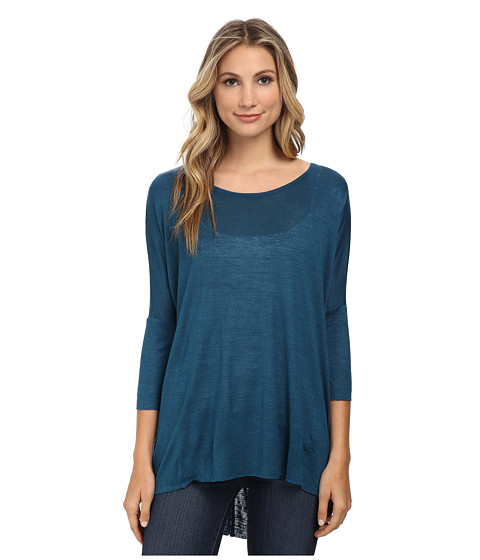 Angie - Solid Slub Knit Top (Navy) Women