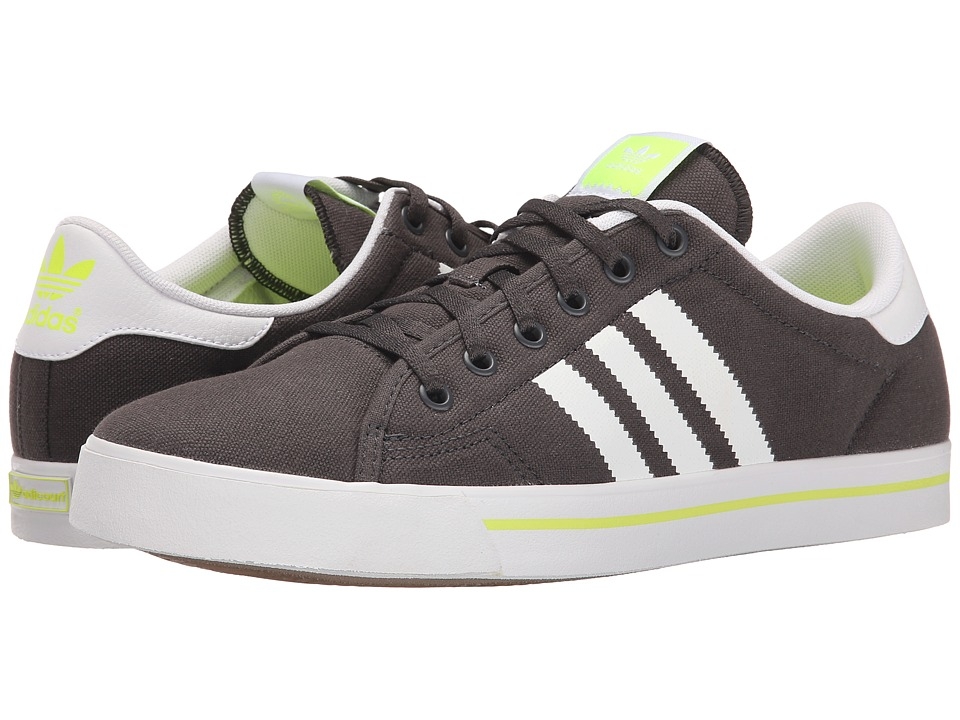 Image of adidas Skateboarding - Adicourt Stripes (Solid Grey/White/Solar Yellow) Men's Skate Shoes