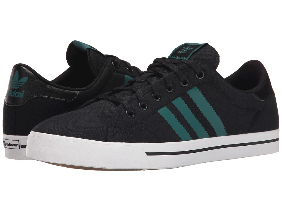adidas Skateboarding - Adicourt Stripes (Black/Emerald/White) Men's Skate Shoes