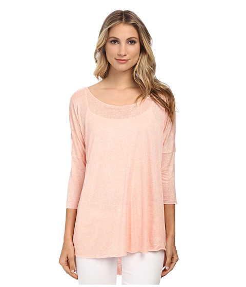 Angie - Solid Slub Knit Top (Coral) Women's Clothing