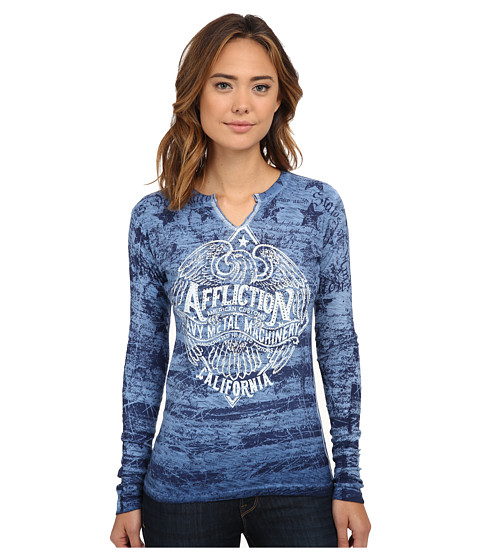 Affliction - Metalworks Long Sleeve Slub Crew (Dark Navy Reverse Oil Stain) Women's Long Sleeve Pullover