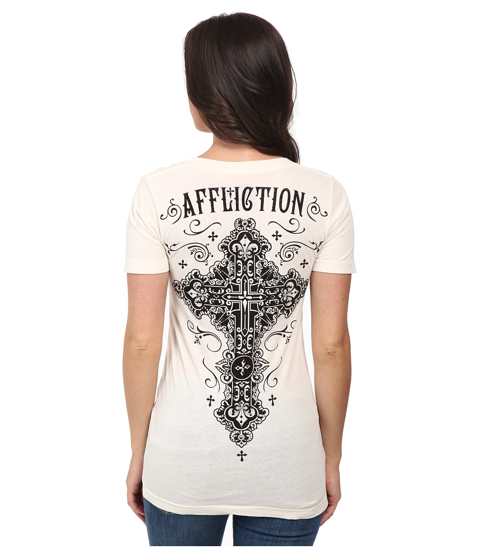 Affliction - Paradigm Short Sleeve V-Neck Tee (Vintage White) Women