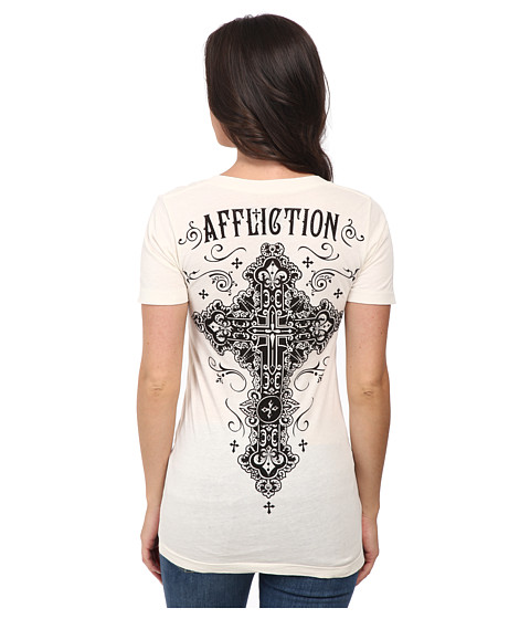 Affliction - Paradigm Short Sleeve V-Neck Tee (Vintage White) Women's T Shirt
