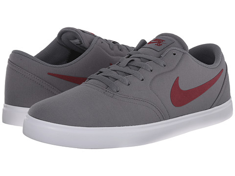 Nike SB - Check Canvas (Cool Grey/White/Team Red) Men's Skate Shoes