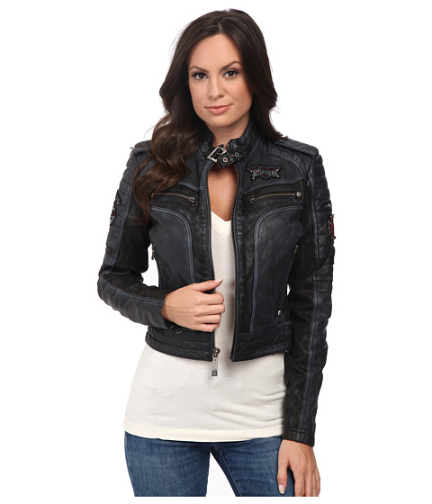 Affliction - Lethal Attack Leather Moto Jacket (Pacific Blue) Women's Coat