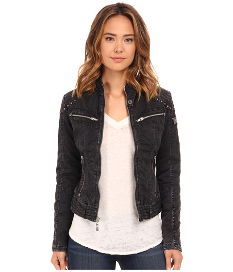 Affliction - Soul Fire Cotton Moto Jacket (Black Sand Wash) Women