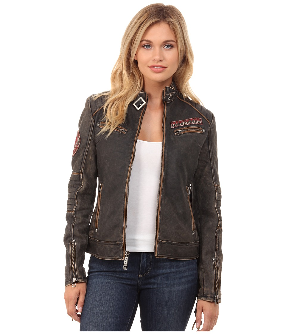 Affliction - Fast Times Lambskin Leather Moto Jacket (Black Vintage Wash) Women