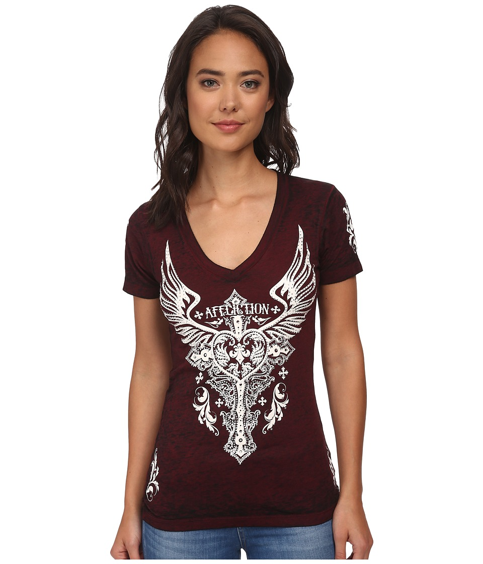 Affliction - Montreaux Short Sleeve V-Neck Tee (Dirty Red/Black Burnout) Women's T Shirt
