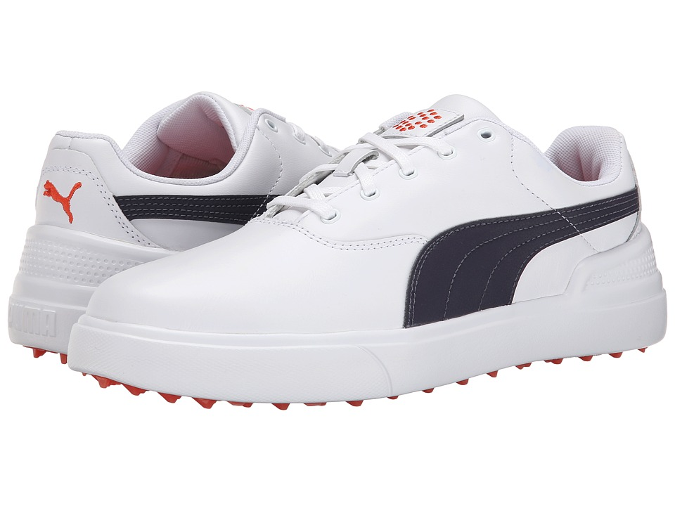 PUMA Golf - Monolite V2 (White/Periscope/Spicy Orange) Men's Golf Shoes