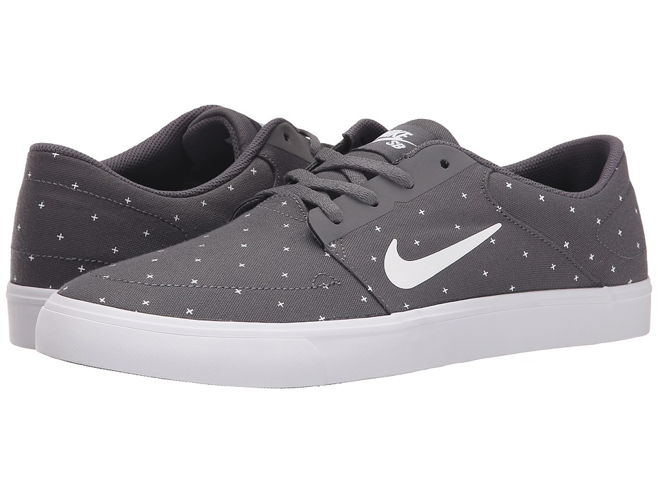 Nike SB - Portmore Canvas Premium (Dark Grey/White/Black/Pine Green) Men's Skate Shoes