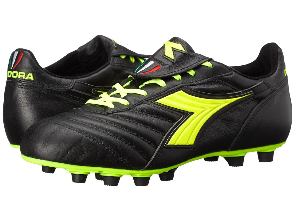Diadora - Brasil S.P.A. (Black/Yellow Fluorescent) Men's Soccer Shoes