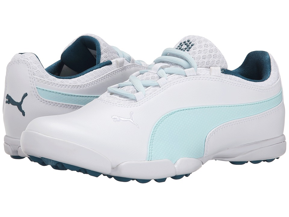 PUMA Golf - Sunnylite (White/Clearwater/Blue Coral) Women's Golf Shoes