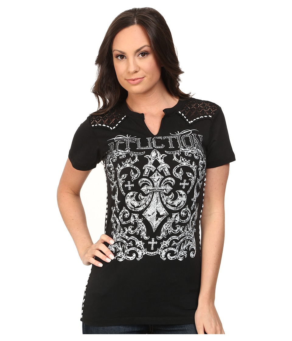 Affliction - Integrate Short Sleeve Western Tee (Black Lava Wash) Women