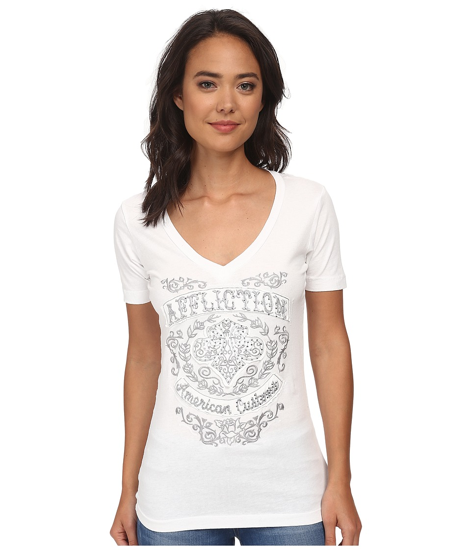 Affliction - Suzette Short Sleeve Racerback V-Neck Tee (White) Women's T Shirt