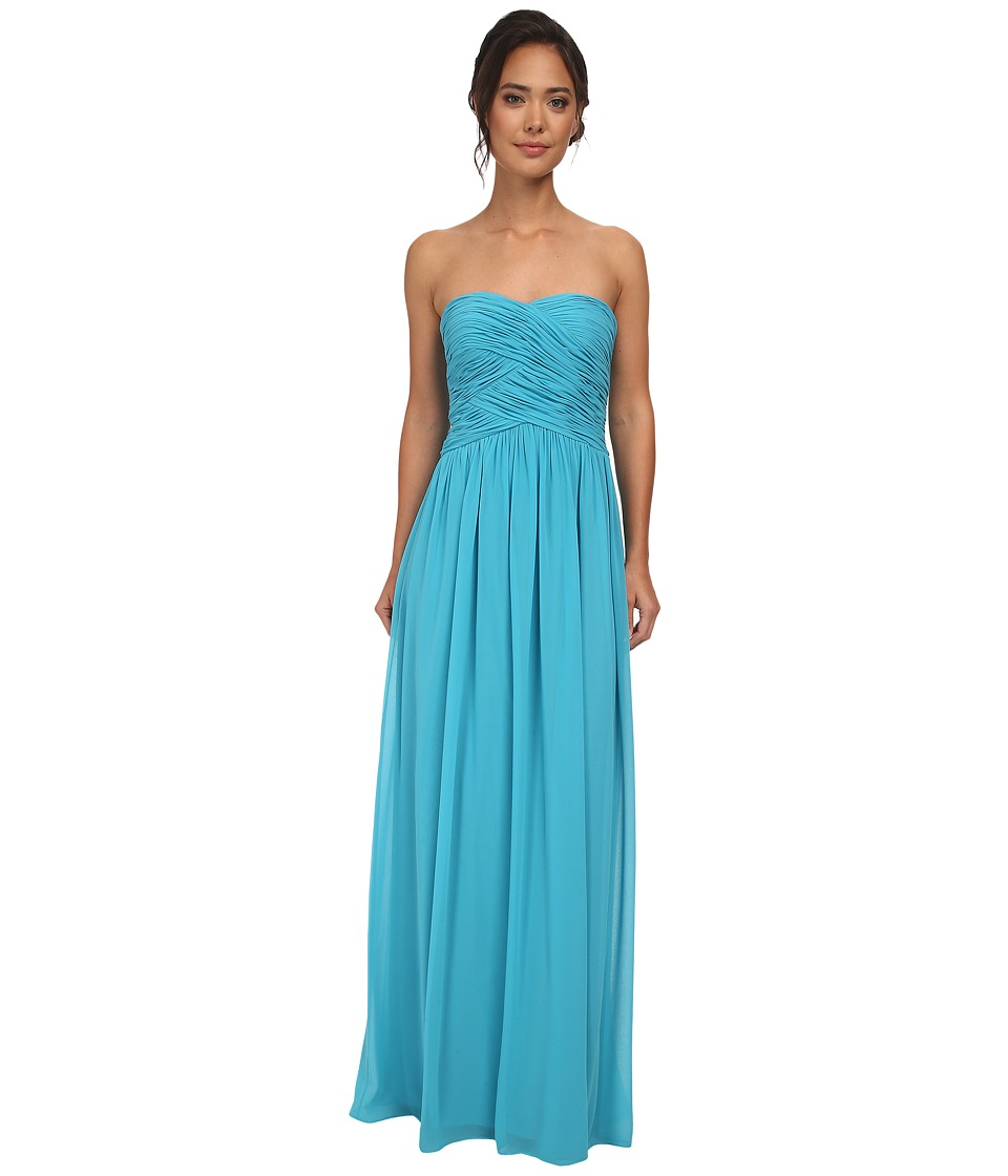 Donna Morgan - Audrey Long Strapless Chiffon Dress (Blue/Green) Women's Dress