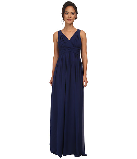 Donna Morgan - Julie Long Bra Friendly Chiffon Dress (Midnight) Women