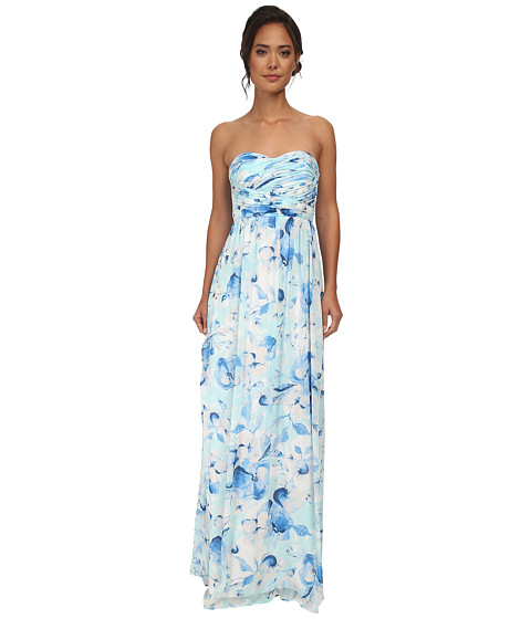 Donna Morgan - Stephanie Long Printed Floral Chiffon Dress (Drop Multi) Women