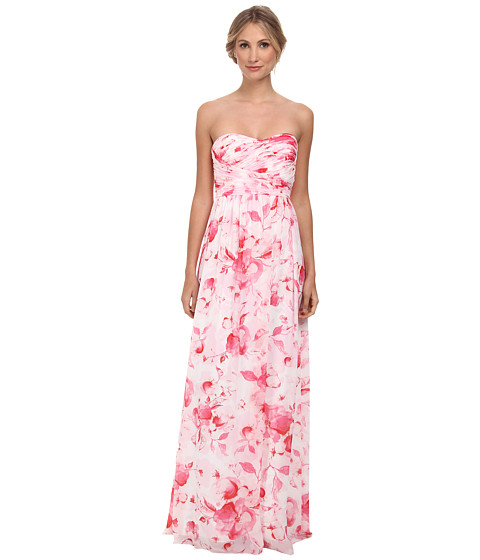 Donna Morgan - Stephanie Long Printed Floral Chiffon Dress (Rose Pink) Women's Dress