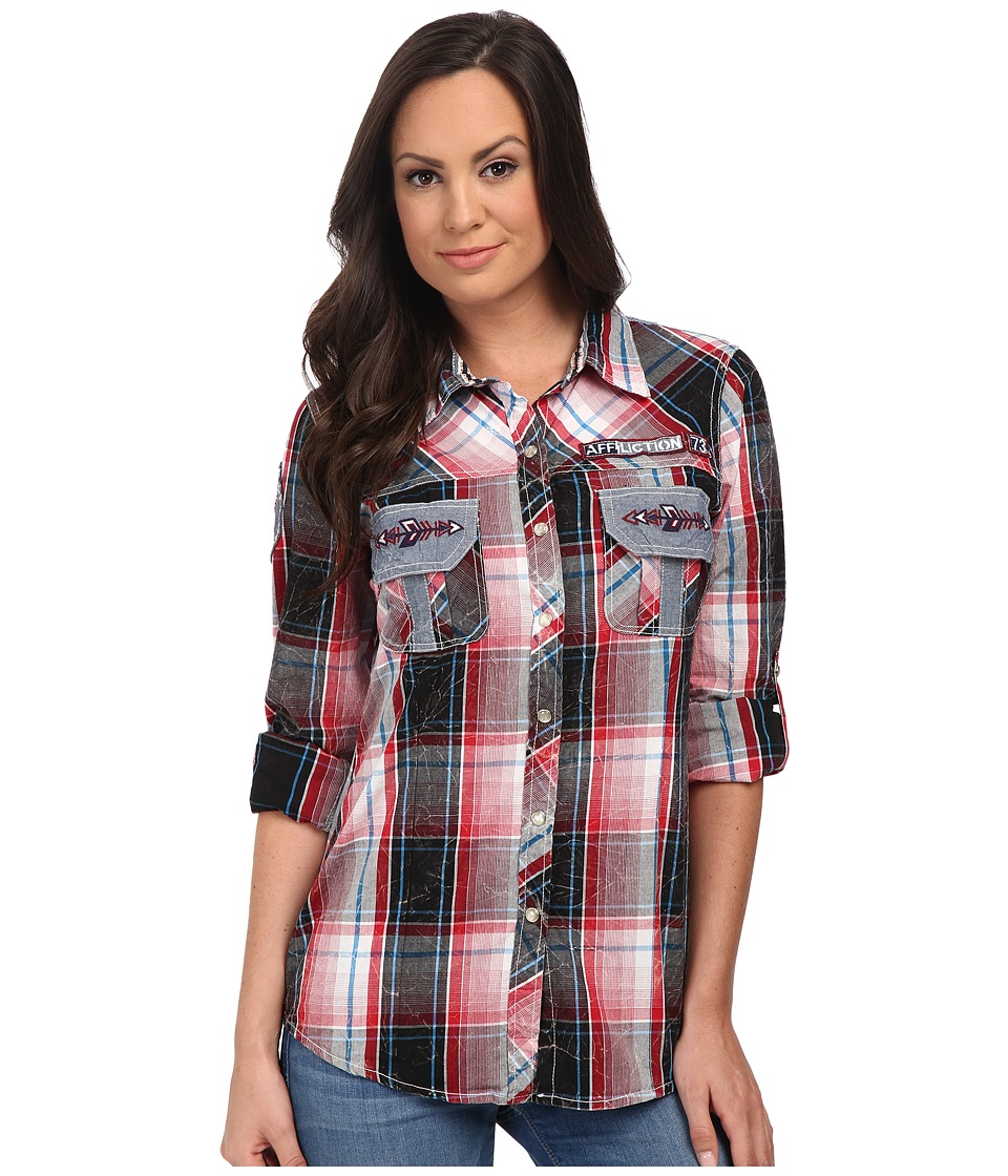 Affliction - Flight Control Slim Fit Long Sleeve Shirt (Crimson Red Plaid Lava Wash) Women