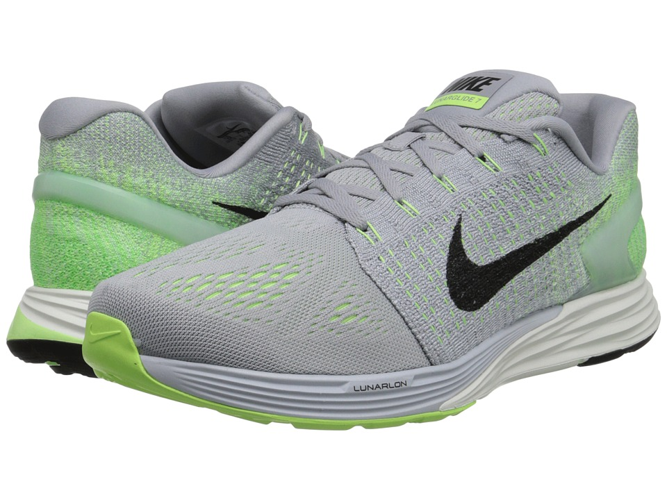 Nike - Lunarglide 7 (Wolf Grey/Black/Green Ghost) Men's Running Shoes