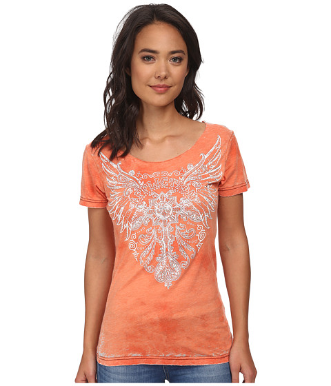 Affliction - Orleans Short Sleeve Scoop Neck Tee (Bright Orange Tea Stain Burnout) Women